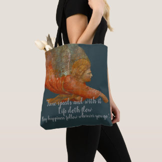 Time Speeds And With It Life Doth Flow Tote Bag