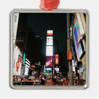 Time Square, NYC Silver-Colored Square Ornament