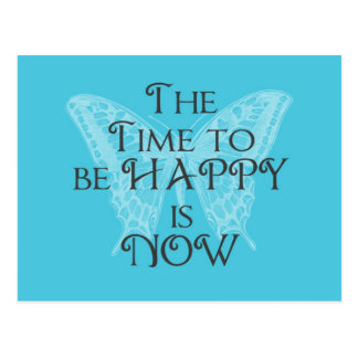Time to be HAPPY Aqua Butterfly Postcard