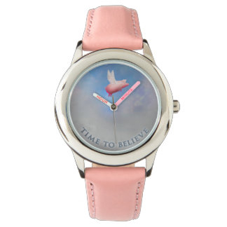 Time to believe-when pigs fly wrist watch