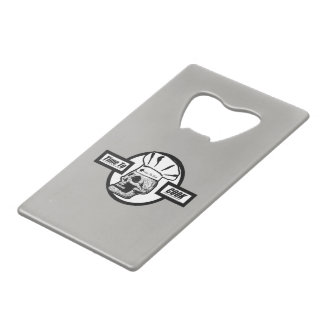 Time to Cook - Black & White Graphic Logo Credit Card Bottle Opener