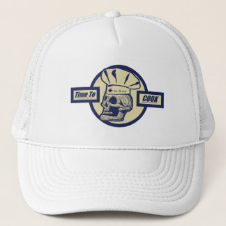 Time to Cook - Butter Yellow & Dark Blue Graphic Trucker Hat