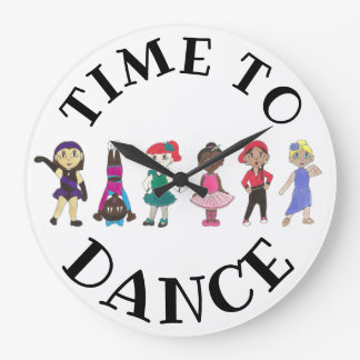 Time to Dance Ballet Tap Jazz Acro Studio School Large Clock