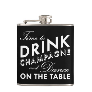 Time to Drink Champagne Black Flask