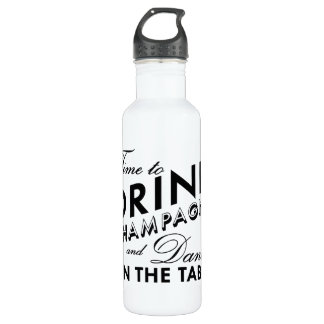 Time to Drink Champagne Black & White Water Bottle