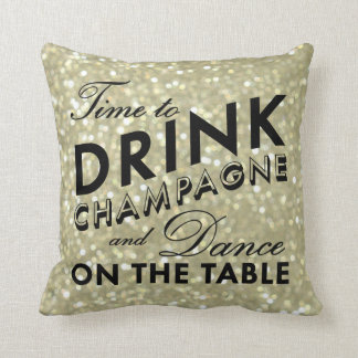 Time to Drink Champagne Pillow in gold