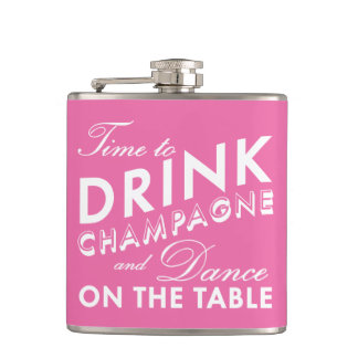 Time to Drink Champagne Pink & White Flask