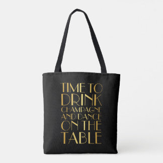 Time to Drink Champagne Tote - gold
