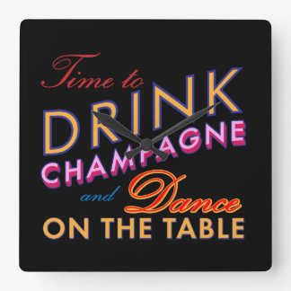 Time to Drink Champagne Wall Clock in Color