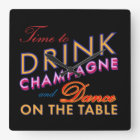 Time to Drink Champagne Wall Clock in Colour