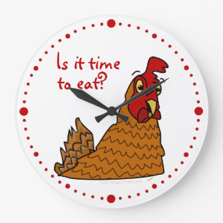 Time to Eat Funny Chicken Lovers Hen Wall Clock