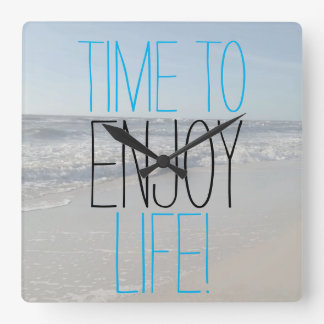 TIME TO ENJOY LIFE Inspirational Square Wall Clock