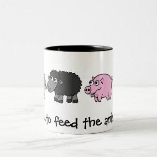 Time to feed the animals! Virtual Farmers Two-Tone Coffee Mug