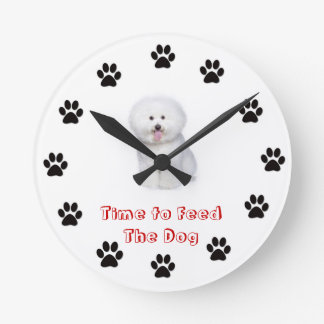 Time to feed the dog Bichon Frise Round Clock