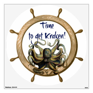 Time To Get Kraken With Ships Wheel Wall Sticker