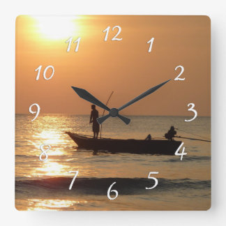 Time to go Fishing Clock Sunset Boat Photo