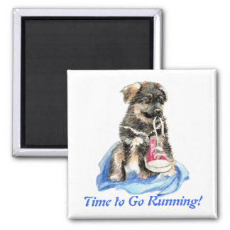 Time to Go Running Cute Dog & Sport Humor Magnet