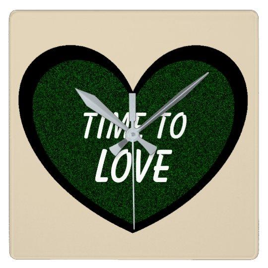 TIME TO LOVE Cute Dark Green Glitter Heart Square Wall Clock