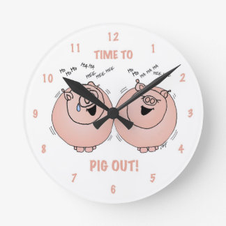 Time to pig out! Cartoon pigs clock. Wall Clock