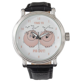 Time to pig out! Cartoon pigs watch. Wrist Watch