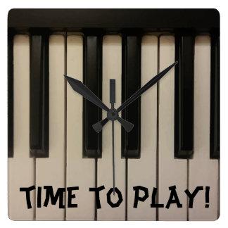 TIME TO PLAY Fun Piano Keys Photo Design Square Wall Clock