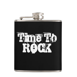Time To Rock Grunge Black And White Custom Words Hip Flask