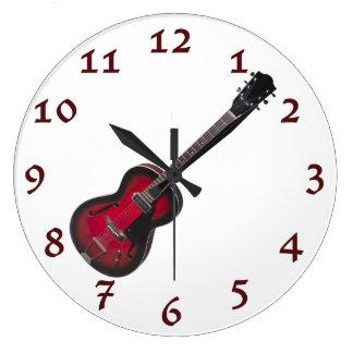 Time To Rock Vintage Red Guitar Large Clock