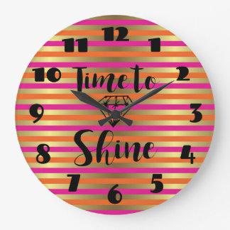 Time to Shine, Pink & Faux Gold Metallic Stripe Large Clock