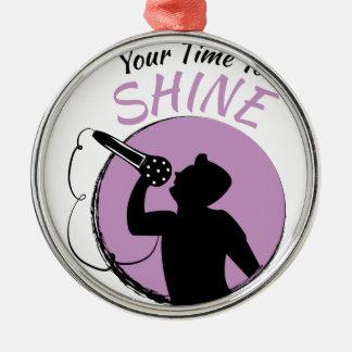 Time To Shine Silver-Colored Round Ornament
