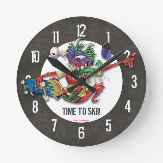 Time To Skateboard Wall Clock Concrete Pattern