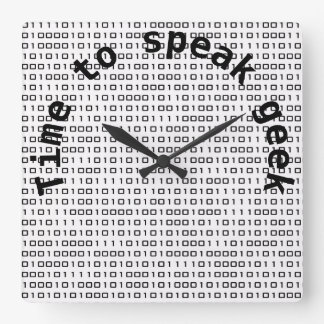 time to speak geek square wall clock