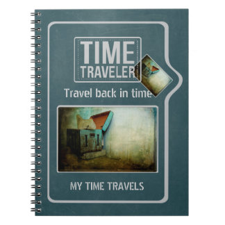 Time traveler shabby blue chest personalized notebook