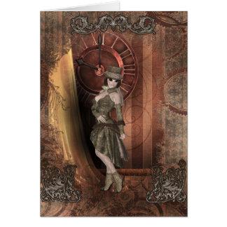 Time Traveler Steampunk Pinup Card