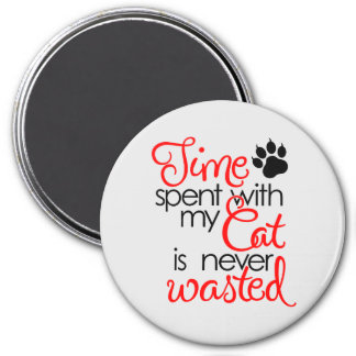 TIme With Cat 3 Inch Round Magnet