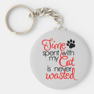 TIme With Cat Keychain