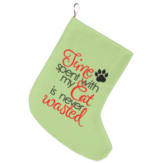 TIme With Cat Large Christmas Stocking