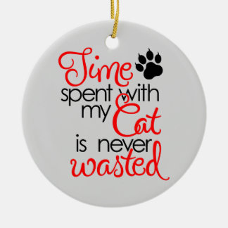 TIme With Cat Round Ceramic Ornament