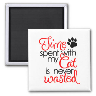 TIme With Cat Square Magnet