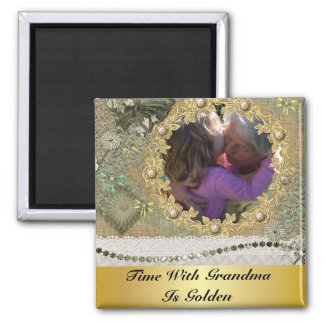 Time With Grandma Is Golden Personalized Square Magnet