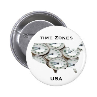 Time Zone Pocket Watch 2 Inch Round Button
