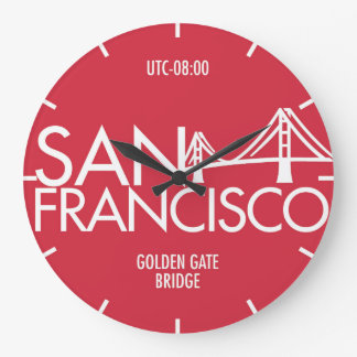 Time Zone Typography Wall Clock San Francisco