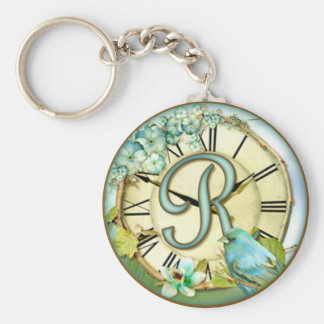 timeless bluebird whimsy initial letter R Keychain