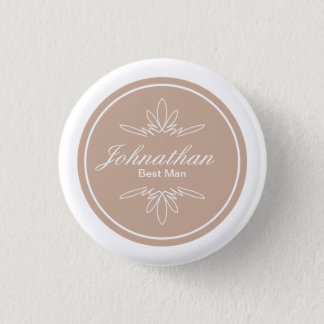 Timeless Charm Wedding Party Name Button - Dune