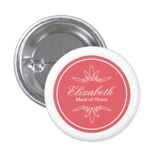 Timeless Charm Wedding Party Name Button - Rose
