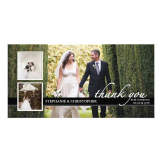 Timeless Chic Wedding Thank You Three Photo Card