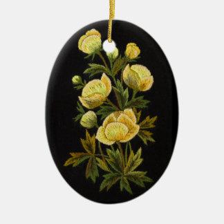 Timeless Globeflower Oval Ornament