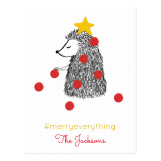 Timeless Hedgehog Tree Merry Everything Holiday Postcard