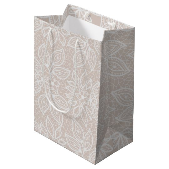 Timeless Lace Look Wedding Buff and White Medium Gift Bag