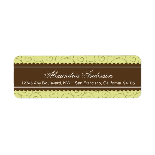 Timeless Return Address Label (brown/lime)