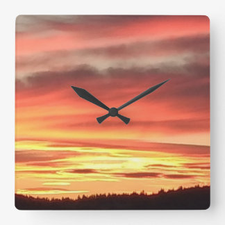 Timeless Sunset Square Wall Clock